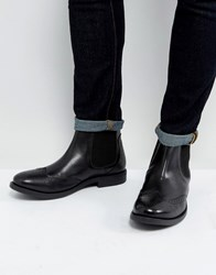 Frank Wright Brogue Chelsea Boots Black Leather Tan