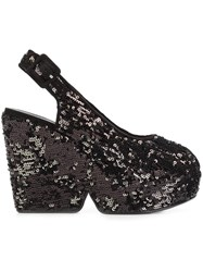Robert Clergerie Sequin Sling Back Platform Pumps Black