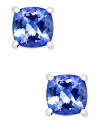 Macy's Tanzanite Stud Earrings 1 3 8 Ct. T.W. In 14K White Gold