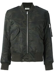Saint Laurent Camouflage Print Army Bomber Jacket Black