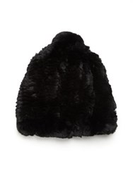 Glamourpuss Rabbit Fur Slouch Pom Hat Black