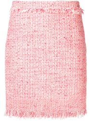 Twin Set Frayed Details Tweed Skirt Pink