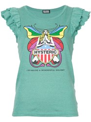 Hysteric Glamour Frill Sleeve Butterfly T Shirt Green