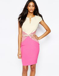 Paper Dolls Midi Pencil Dress With Lace And Belted Waist Creampink