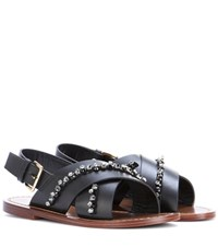Marni Embellished Leather Sandals Black