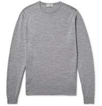 John Smedley Lundy Melange Merino Wool Sweater Gray