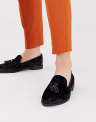 House Of Hounds Pointer Loafers In Black Velvet