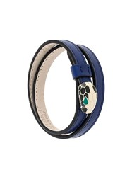 Bulgari Snake Motif Leather Bracelet Blue