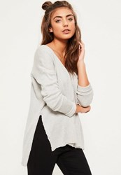 Missguided Grey Slouchy Side Split Knitted Jumper