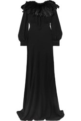 Olivia Von Halle Maleficent Angelina Faux Feather Trimmed Silk Crepe De Chine Gown Black