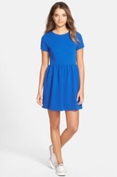 One Clothing Textured Knit Skater Dress Juniors Blue