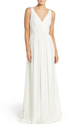 Hayley Paige Occasions Women's Embellished Shoulder V Neck Chiffon Gown Ivory