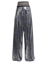 Johanna Ortiz Campanilla Sequin Enbellished High Rise Trousers Navy Multi