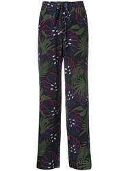 Markus Lupfer Leaf Print Straight Trousers Blue