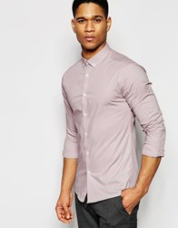 Asos Skinny Shirt In Dusty Pink With Button Down Collar And Long Sleeves Dusty Pink