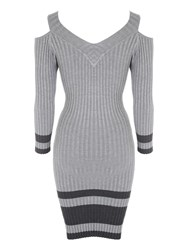 Jane Norman Cold Shoulder Jumper Dress Grey Marl