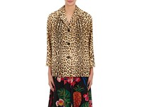 Valentino Women's Leopard Print Calf Hair Blazer Brown