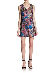 Saks Fifth Avenue Red Floral Print A Line Dress