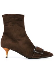 Ermanno Scervino Pointed Toe Ankle Boots Brown