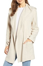 Treasure And Bond Hooded Open Front Cardigan Beige Oatmeal Heather