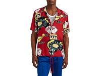 Ovadia And Sons Casino Print Camp Shirt Red