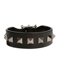 Valentino Men's Rockstud Camo Leather Bracelet Black