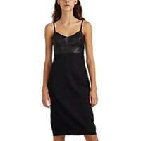 Narciso Rodriguez Virgin Wool And Leather Cami Dress Black
