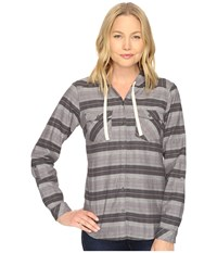 Columbia Times Two Hooded Long Sleeve Shirt Shark Stripe Women's Long Sleeve Button Up Gray
