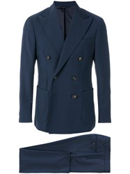 Doppiaa Double Breasted Two Piece Suit Blue