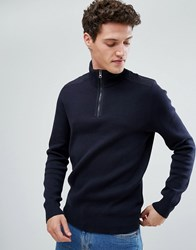 Celio Half Zip Jumper With Binding Detail Navy