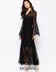 White Sand Excalibur All Over Chiffon And Lace Maxi Dress With Tie Front Black
