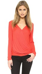 Lanston Long Sleeve Surplice Top Tomato