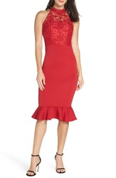 Chi Chi London Crochet Bodice Party Dress Red