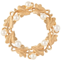 Susan Caplan Vintage Bridal 1960S Trifari Gold Plated Faux Pearl Wreath Brooch Gold Pearl