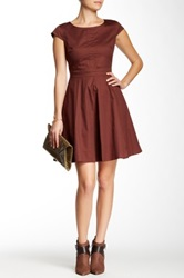 Amelia Cap Sleeve Party Dress Brown