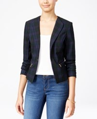 Xoxo Juniors' Pleated Plaid Blazer Navy Plaid
