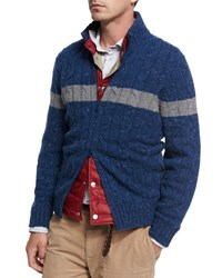 Brunello Cucinelli Donegal Cable Knit Zip Front Cardigan Medium Blue
