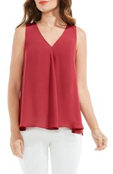 Vince Camuto Women's Pleat Front A Line Blouse Sunset Rose