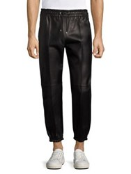 Bally Solid Leather Trousers Black