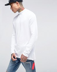Asos Knitted Jumper With High Neck And Side Zips White