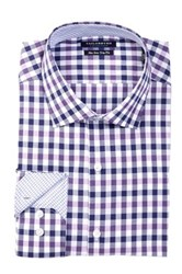 Tailorbyrd Long Sleeve Trim Fit Checkered Dress Shirt Purple
