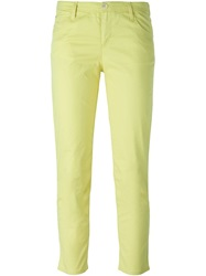 Armani Jeans Cropped Skinny Jeans Yellow And Orange