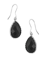 Lord And Taylor Sterling Silver And Cubic Zirconia Teardrop Pendant Earrings Silver Black