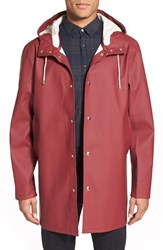 Stutterheim Men's Stockholm Waterproof Hooded Raincoat Burgundy