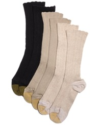 Gold Toe Women's Lacey Crew Socks Oat Khaki Brown