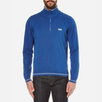Hugo Boss Green Men's Zime Zip Neck Knitted Jumper Open Blue
