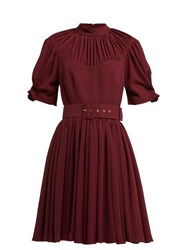 Emilia Wickstead Corinne Pleated Crepe Mini Dress Burgundy