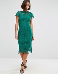 Paper Dolls Crochet Lace Dress With Cap Sleeve Jade Green