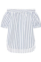 Michael Michael Kors Off The Shoulder Striped Linen Top White