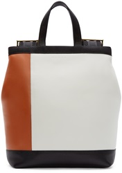 Marni White And Cognac Colorblocked Backpack